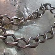 Vintage Sterling Silver Chased Link Charm Bracelet