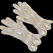 REDUCED Vintage Never Worn Hand Crocheted Ecru Gloves Great Details