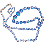 SOLD Vintage Czech Light Blue Faceted Crystal Graduated Necklace