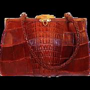 REDUCED Vintage Edwardian Dark Brown Hornback Alligator Purse