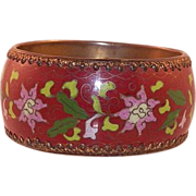 REDUCED Vintage Extra Wide Chinese Cloisonne Bangle Bracelet