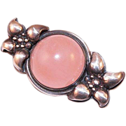 REDUCED Vintage Sterling Pink Quartz Cabochon Pin Signed