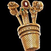 Unsigned Goldette Thimble and Stickpin Flower Basket Brooch