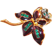 REDUCED Vintage 1930's Coro Fur Clip Trembler Brown Enamel & Rhinestone