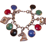 REDUCED Vintage 1940's Coro Silver Tone Charm Bracelet Chess Pieces
