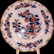 REDUCED Antique Flow Blue Polychrome Davenport Plate Asian Scene