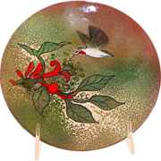 SOLD Vintage Norman Brumm Enamel On Copper Plate Hummingbird