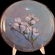 REDUCED Mid-Century Nekrassoff Enamel On Copper Bowl Dogwood Flowers
