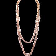 "Vintage Crystal Faux Pearl Rhinestone Flapper Necklace 60"""