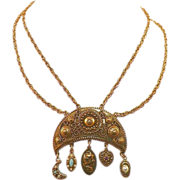 REDUCED Vintage Unsigned Goldette Necklace With Hanging Charms