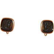Vintage Black Cameo Gold-Filled Screwback Earrings