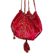 SOLD Vintage Red Velvet Drawstring Purse With Metallic Painted  Animals
