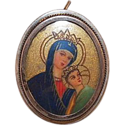 Vintage 800 Silver Hand Painted Madonna and Child Pin/Pendant