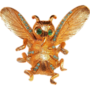Vintage DeNicola Figural Gold Tone Bug Pin With Green Eyes