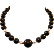 Vintage Classic Black Onyx Pearl Necklace 14K Clasp and Spacers