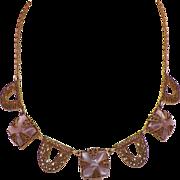 Vintage Art Deco Czech Purple Glass Necklace Stamped Brass
