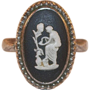 Vintage Black Wedgwood Jasperware Sterling Ring