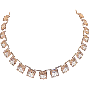 Art Deco Square Cut Clear Open Back Crystal Necklace