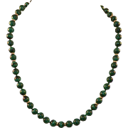REDUCED Malachite and 14K Gold Beaded Necklace