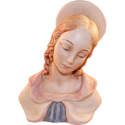 Vintage Bisque Madonna Virgin Mary Bust Statue Italy