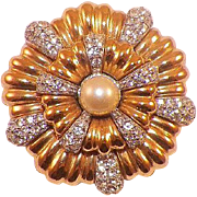 Vintage 1977 Givenchy Goldtone Faux Pearl and Rhinestone Pin