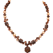Vintage Smokey Topaz Pearl Silver Pendant Necklace