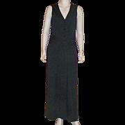 Vintage 1970's Victor Costa Black Jersey Maxi Dress With Fringed Belt