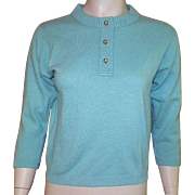 REDUCED 1960's Ballantyne Turquoise Cashmere Sweater Designed By Bonnie Cashin