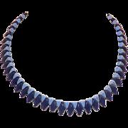 Art Deco Czech Glass Blue Light Blue Necklace