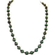 Vintage Venetian Black and Green Foil Glass Bead Necklace