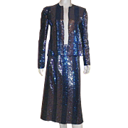 Vintage Sequined Evening Suit Skirt and Jacket By Muney New York