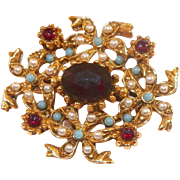 Vintage Victorian Style Pin Faux Garnets Turquoise Pearls Unsigned Florenza
