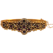 Vintage Rolled Gold Bohemian Garnet Hinged Bangle Bracelet