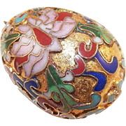 REDUCED Vintage Large Cloisonne Gilt Egg Pendant