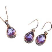 Vintage Amethyst Sterling Pendant Necklace and Earrings