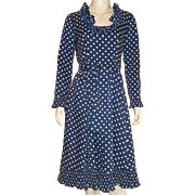 1970's Victor Costa Navy Blue and White Polka Dot Dress