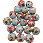 Group Of Twenty Large Porcelain Chinese Hand Painted Floral Beads