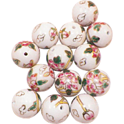 Group Of Thirteen Large Porcelain Chinese Hand Painted Floral Beads