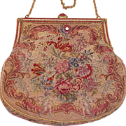 Vintage Flowers and Cherubs Tapestry Purse With Enamel and Faux Pearl Frame