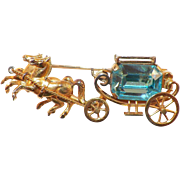 SALE PENDING Vintage Italian Hand Crafted Horse and Carriage Pin With Movable Wheels