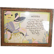 Art Deco Framed Mother Motto Print Gibson Art Co.