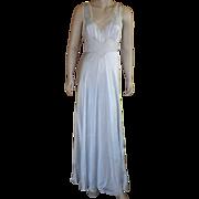 Vintage 1930's Bias Cut Light Blue Silk Nightgown Negligee With Decorative Neckline