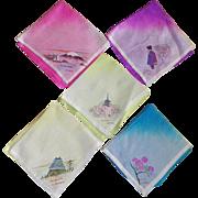 Set Of Five Silk Hand Painted Japanese Handkerchiefs