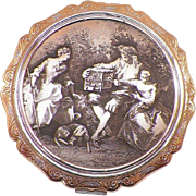 Vintage Stratton Of England Silver Plated Compact With Raised Relief Scene
