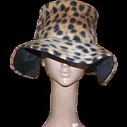 Vintage 1970's Faux Leopard Fur Floppy Hat
