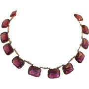 Art Deco Czech Purple Glass Necklace Choker Length
