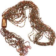 Vintage Glass Seed Bead and Jasper Chip Torsade Necklace