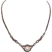 Art Nouveau Sterling Marcasite Pearl Necklace