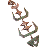 Vintage Mexican Modernist Sterling Articulated Fish Skeleton Pendant With Inlaid Turquoise Chi