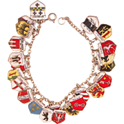 Vintage Sterling and Enamel Germany Charm Bracelet